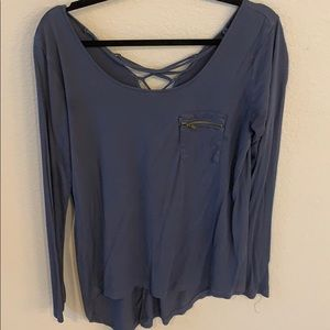 Blue zip pocket tunic with lace up back